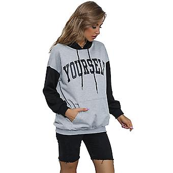 Women's Pull-over Classic Hooded Sweatshirt Letter Print Contrast Sweatshirt
