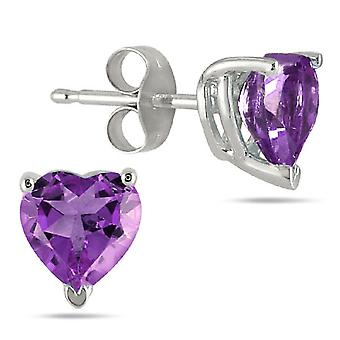 4mm Herzform Amethyst Ohrstecker, 14K White Gold