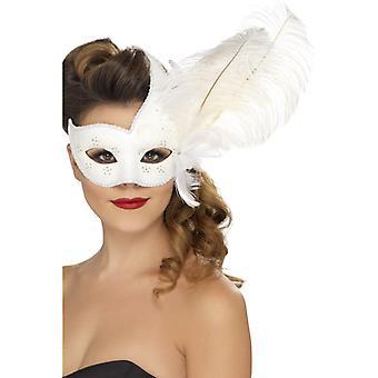 Kunstvolle kolumbianische Augenmaske Weiß mit Feder