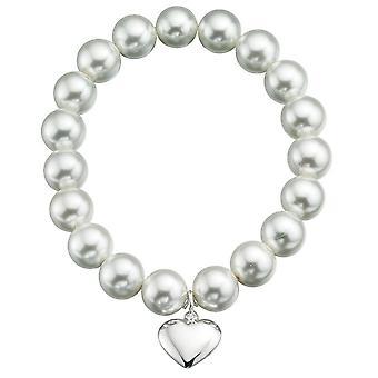 Corazón perlas plata 925 pulsera