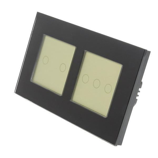 I LumoS Black Glass Double Frame 5 Gang 1 Way Touch LED Light Switch Gold Insert