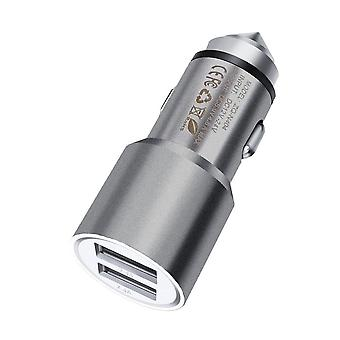 (Grey) Dual Port Aluminium Car Charger Bullet Adaptor (3.1AMP/24W) For Sharp Aquos S3