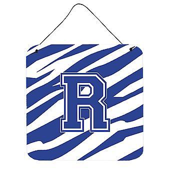 Letra R inicial tigre listra azul e branca de parede ou porta impressões de suspensão
