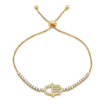 Dames 18K goud vergulde messing gesimuleerde koord armband