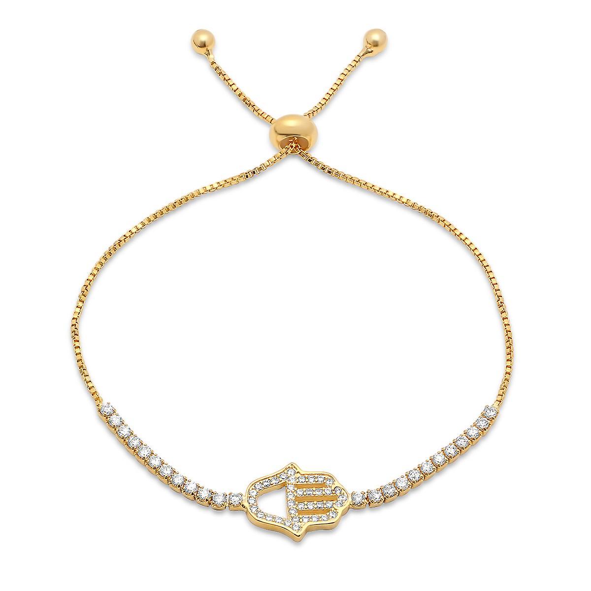 Ladies 18K Gold Plated Brass Simulated Drawstring Bracelet