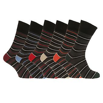 Aler Mens Non Elastic Thin Multi-Stripe Socks (6 Pairs)