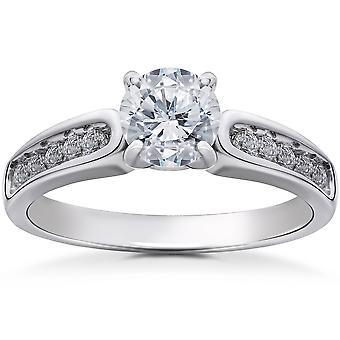 Diamant Verlobungsring 1 1/2 Karat Clarity Enhanced 14K White Gold Channel Set