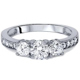 1 1 / 10ct 3 - Stone Diamond Engagement Ring 14K White Gold