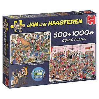 Jan Van Haasteren la oss feste! 2-i-1 puslespill (500 stykker & 1000 stykker)