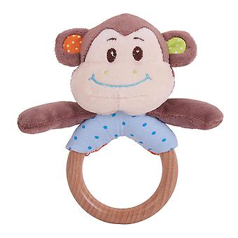 Bigjigs Toys Plush Cheeky Monkey Ring Rattle Hand Cot Pram Toys