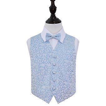Baby Blue Swirl Wedding Waistcoat & Bow Tie Set for Boys
