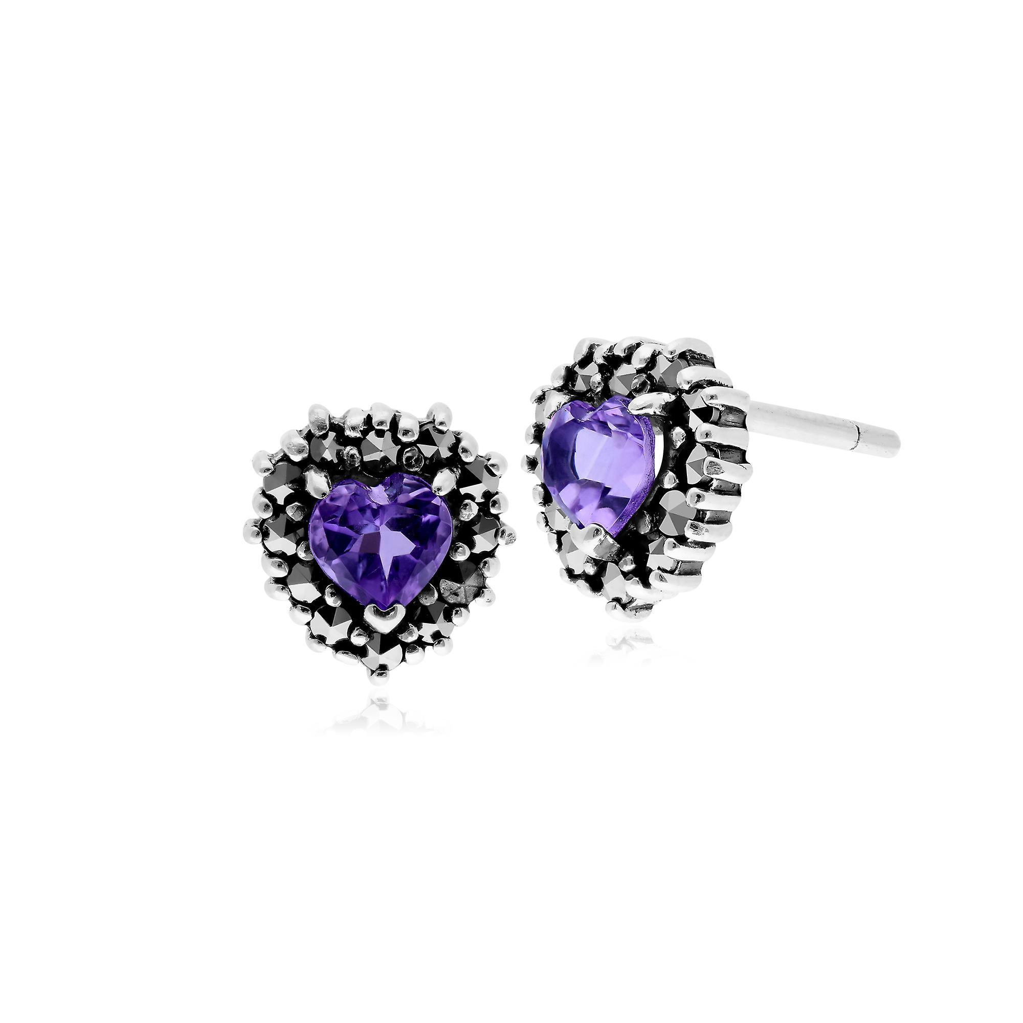 Gemondo Sterling Silver Amethyst & Marcasite Heart Stud Earrings