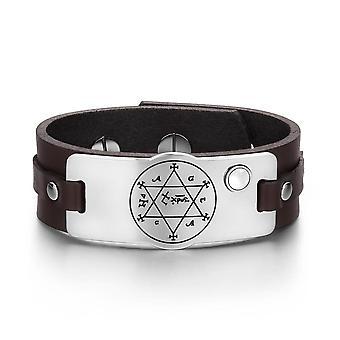 König Solomon Circle Pentagramm Hexagramm Amulett weiß simuliert Katzen-Auge-Leder-Armband
