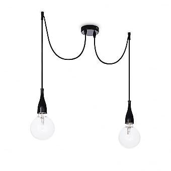 Ideal Lux Minimal 2 Bulb Pendant Light White Opaco