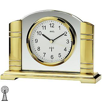Table clock radio clock gold-colored metal housing with ground mineral glass