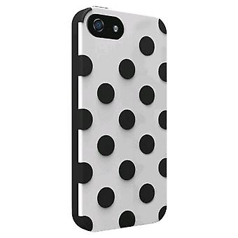 Technocel Polka Dots Dual Protection Shield voor Apple iPhone 5 - wit/zwart
