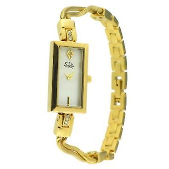 Saphir Ladies Classic Rectangular Face Watch with Metal String  strap.