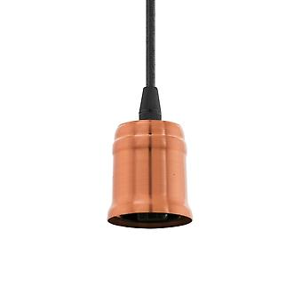 Eglo E27 Pendant Suspension Kit In Bushed Copper With Black Cable