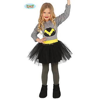 Guirca Superheldenkostüm für Mädchen Grau-Schwarz-Gelb Superheldin Kostüm Karneval