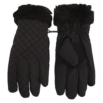 Tom Franks Womens/Ladies Quilted Gloves With Faux Fur Trim