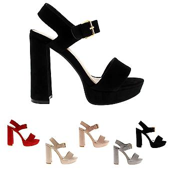 Womens Ankle Strap Open Toe Block Heel Barely There Fashion High Heels UK 3-10