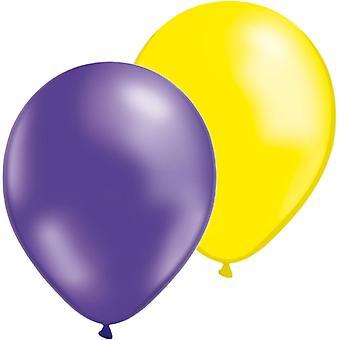Balloons Mix 24-pack in yellow & purple-Metallic