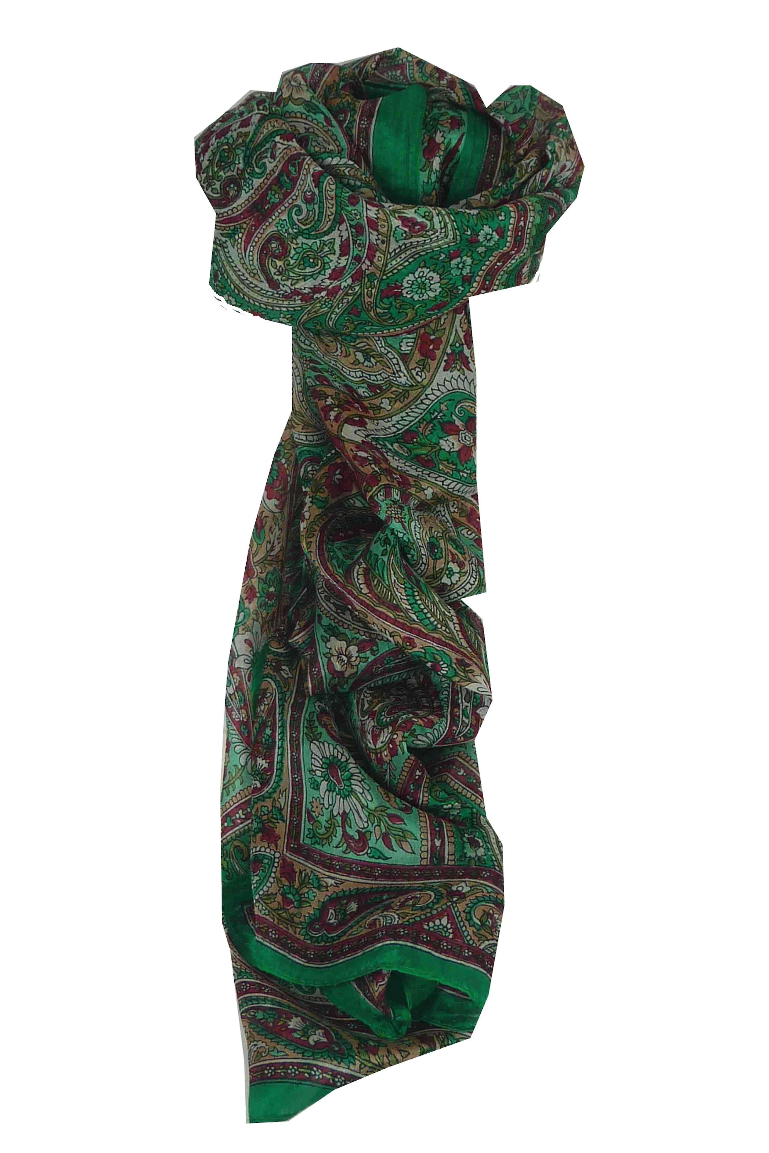 Mulberry Silk Traditional Long Scarf Diya Teal by Pashmina & Silk