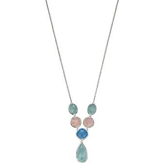 Elements Silver Fancy Chalcedony Necklace - Blue/Pink/Green