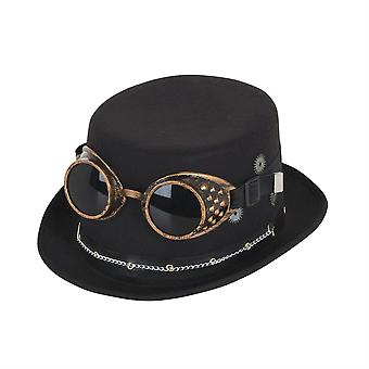 Steampunk Top Hat Black w/ Goggles & Gears