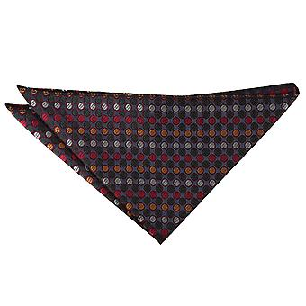 Silver, Red & Gold Chequered Polka Dot Pocket Square