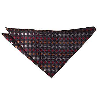 Hopea, punainen & kullanvärinen seka piste tasku neliö