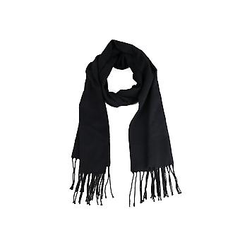 Lovemystyle Black Wool Scarf With Fringe Detail