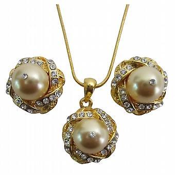 PROM Abend Eelegant Schmuck Gold Perlen Halskette Ohrringe Set
