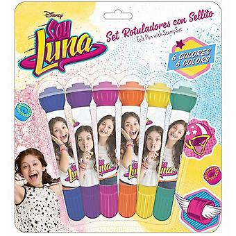 Disney Soy Luna Color pens with stamps 6pcs School set Pennset