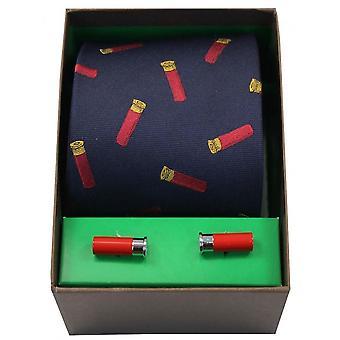 David Van Hagen Gun Cartridges Tie and Cufflink Set - Navy/Red