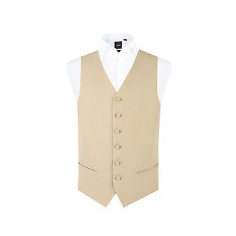 Dobell garçons or/Buff matin mariage costume gilet Regular Fit à boutonnière simple