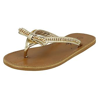 Mädchen Cutie Qt Toe Post Sandalen H0041 Gold UK 10