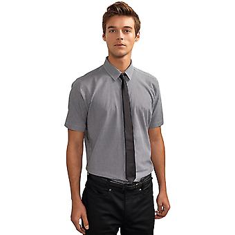 Premier Mens Microcheck Gingham Style Short Sleeve Shirt