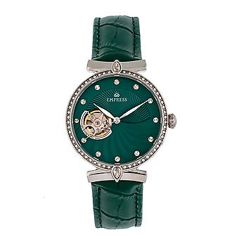 Empress Edith Semi-Skeleton Leather-Band Watch - Green