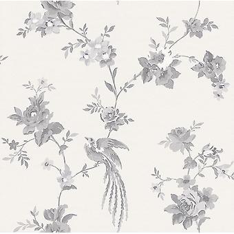 Rasch negro blanco Floral fondo de pantalla flor hojas hojas ramas Animal Paste Pared