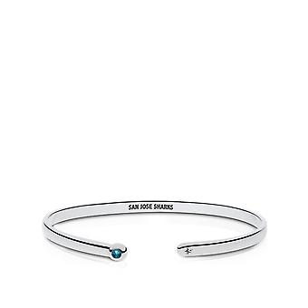 San Jose Sharks Engraved Sterling Silver London Blue Topaz Cuff Bracelet