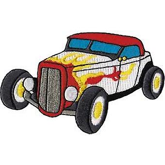 Patch - Automoblies - White Roadster with Flames Iron On Gifts New Licensed p-3793