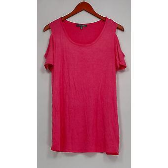 Lisa Rinna Collection Top Cold Shoulder Scoop Neck Pink A265451