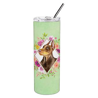 Doberman Pinscher Green Flowers Double Walled Stainless Steel 20 oz Skinny Tumbl