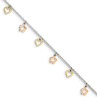 925 Sterling Silver Fancy Lobster Closure Polished Flash 14k Gold Plated Love Heart Flower With 1inch Ext. Anklet 9 Inch