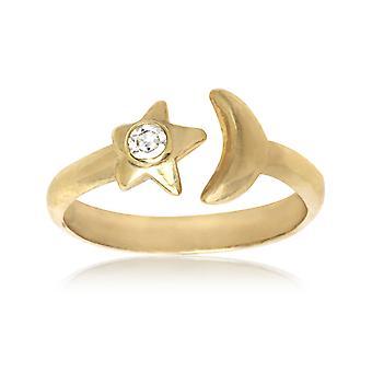 14k Geel Goud CZ Cubic Zirconia Gesimuleerde Diamond Top Verstelbare Hemelse Maan en Star Body Sieraden Toe Ring Sieraden