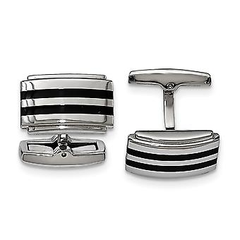 Stainless Steel Polished Black Rubber Rectangle Cuff Links Jewelry Gifts for Men