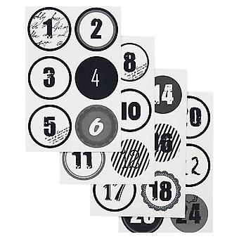 Monochrome Christmas Advent Calendar Number Paper Stickers - 1 to 24