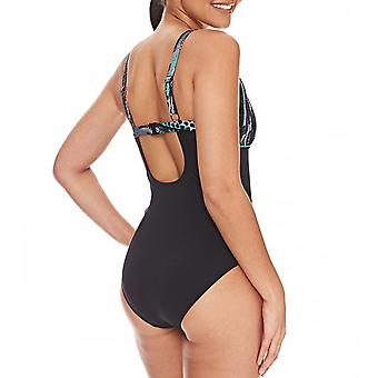Zoggs Womens Minnamurra Natação Summer Pool Swim Swimsuit Costume Preto / Multi