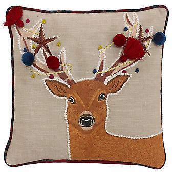 Riva Home Handwerker Weihnachten Hirsch Design Feder gefüllt Kissen